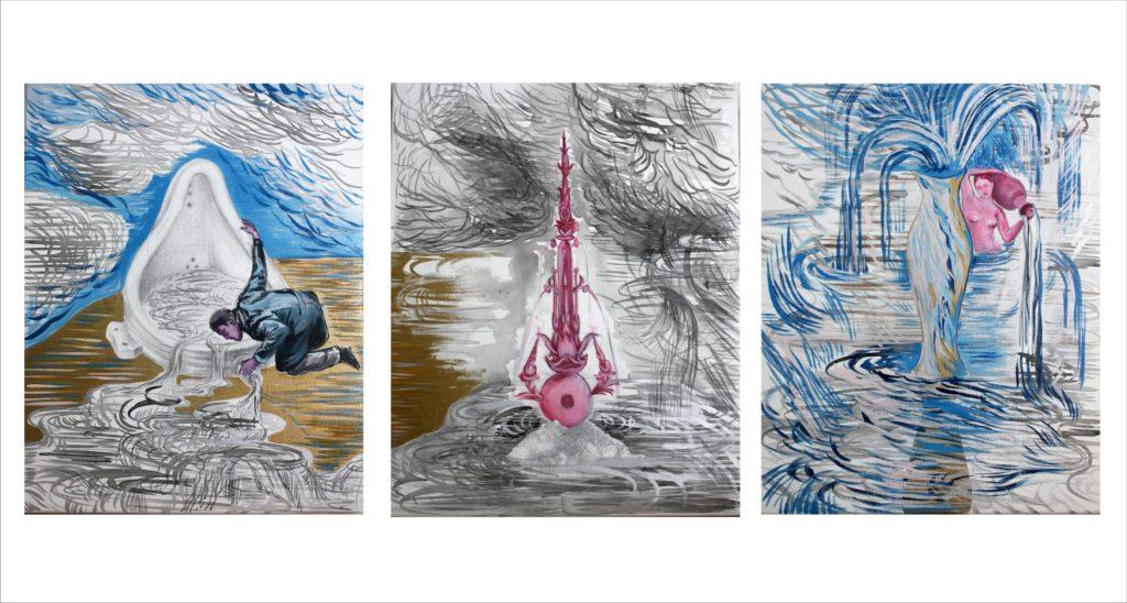 fuente 03 - triptico - tecnica mixta s.tela-120 x 50 cm-2012